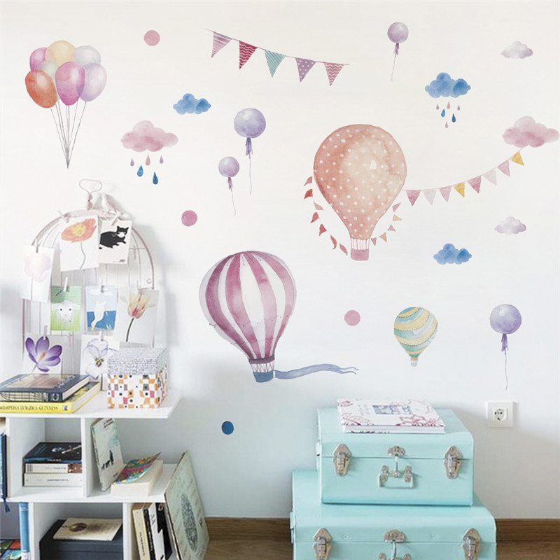 Balloons Flag Animals Rain Car Wall Stickers For Kids Rooms Decals Children  Bedroom Kindergarten Decoration Wall