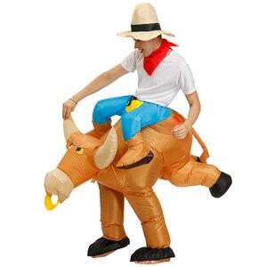 Image 2 - Disfraces Adultos Bambino di Halloween Cosplay Giro un Toro Gonfiabile Costume di Fantasia Costumi per Gli Uomini del Ragazzo Abbigliamento