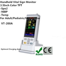 Smallest 3.5 inch color TFT handheld Vital Sign Monitor  Oximetry with Spo2,NIBP,TEMP Parameters Spo2 Oximeter