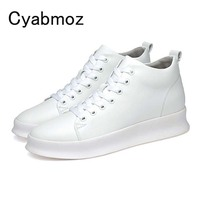 2018 New Arrival British Fashion Men Shoes Comfort Breathable Genuine Leather Casual Hidden Heel Shoes Lace-Up Height Increasing