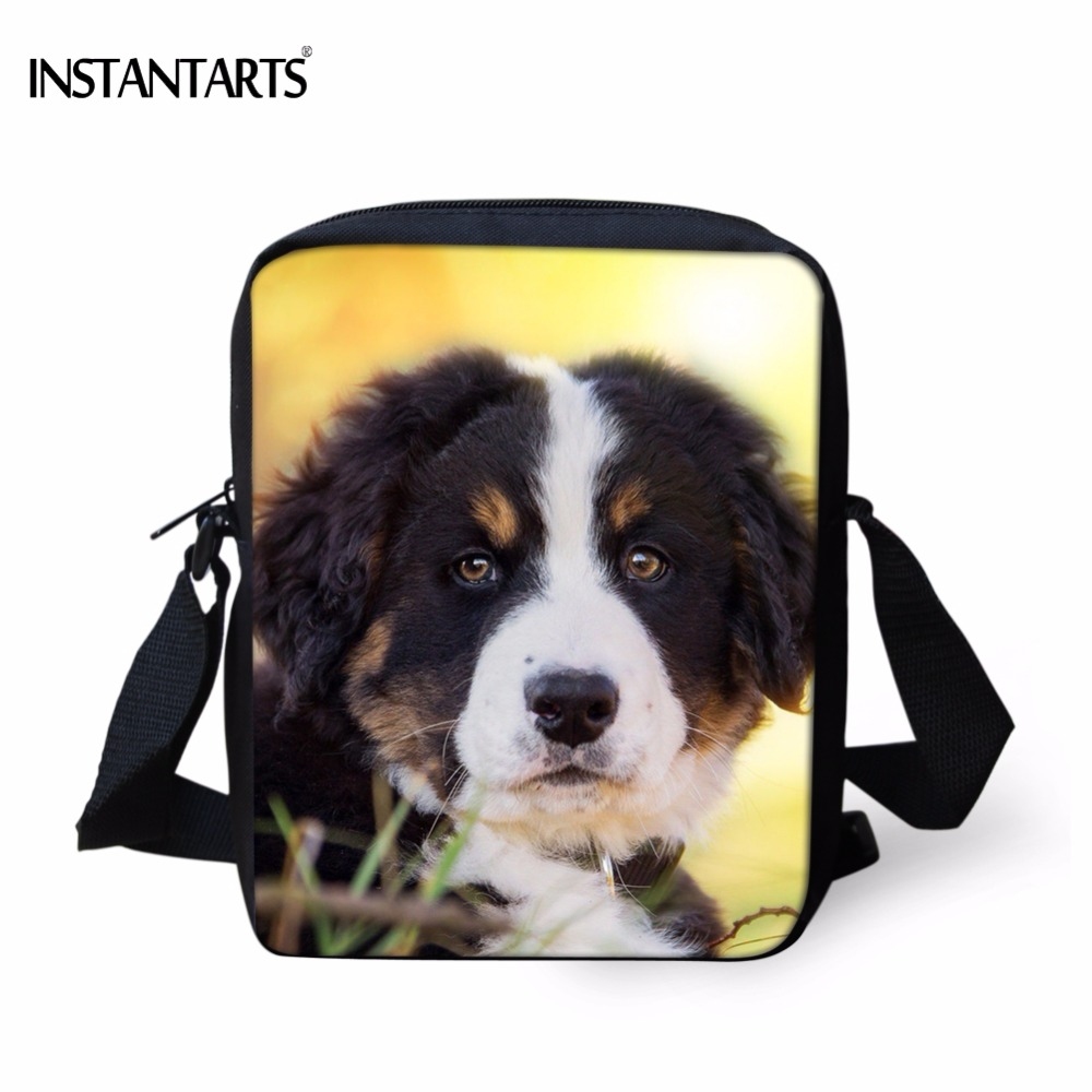 INSTANTARTS Funny Kindergarten Student School Bag Cute Bernese Mountainly Dog Print Boy Girl Satchel Children Mini Crossbody Bag