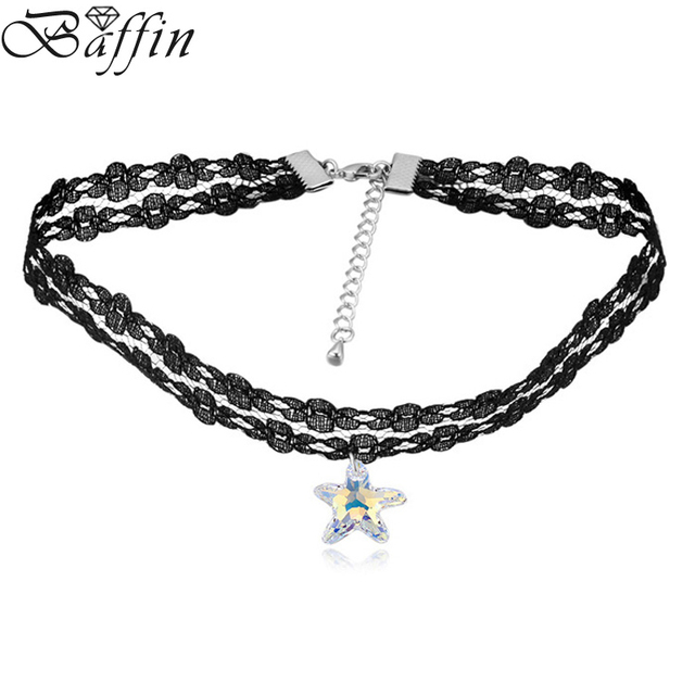 2017 vintage lace chain choker necklace starfish pendant original 2017 vintage lace chain choker necklace starfish pendant original crystal from swarovski maxi collier gothic style aloadofball Gallery