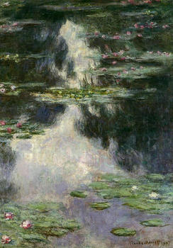 100% handmade landscape oil painting reproduction on linen canvas,water-lilies-26 by claude monet