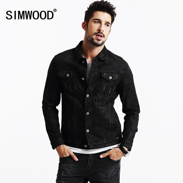 SIMWOOD 2016 New Autumn Winter Black Denim Jacket Jeans  Outerwear Fashion Slim fit NJ6522