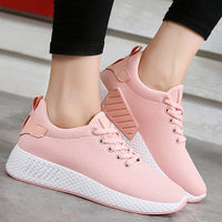 Air Mesh Breathable Shoes Lace Up Shoes Woman Solid Cotton Fabric Women Sneakers Sewing Wedges Shoes