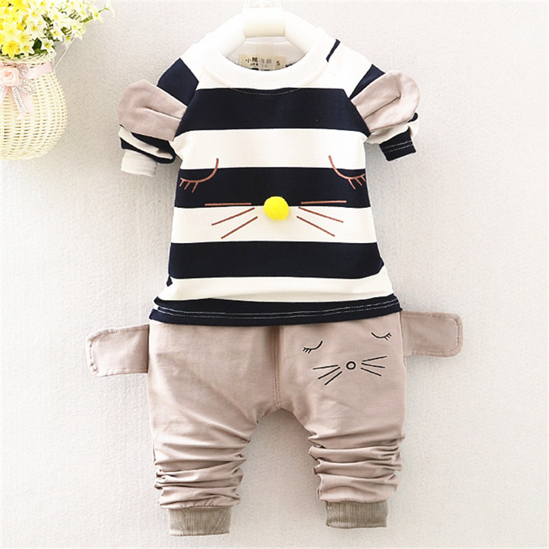 Yue Yue Cat sp03 baby boy clothes children kids boys long sleeves handsome suit sets casual design t shirts and pants retro small square korean version of the printing bag graffiti shape shoulder mini oblique cross female package