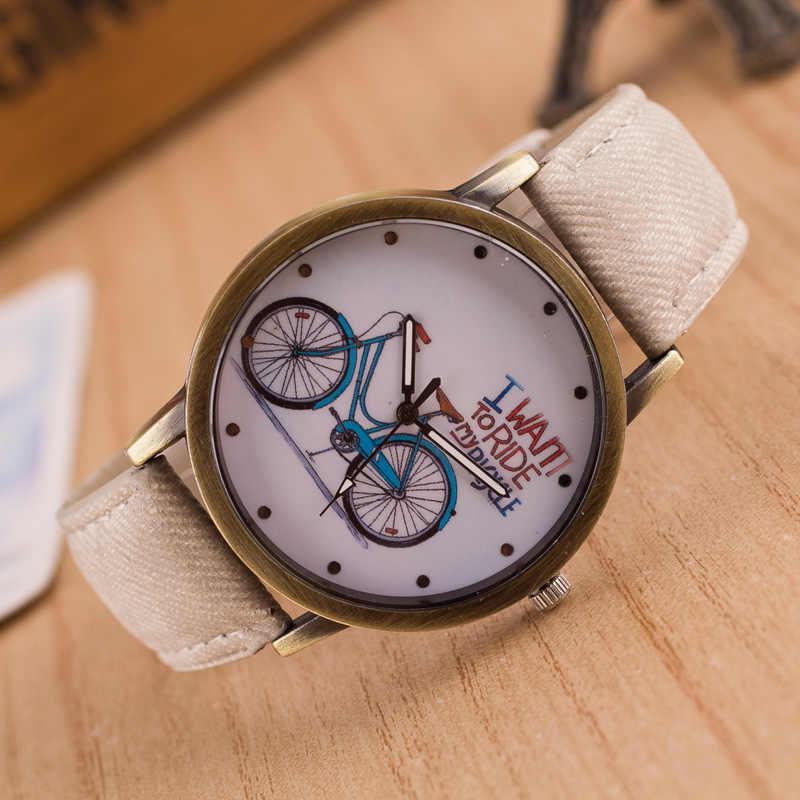 Baru Fashion Merek Kuarsa Jam Tangan Sepeda Pola Kartun Jam Tangan Wanita Kasual Vintage Kulit Anak Perempuan Jam Tangan Hadiah Reloj