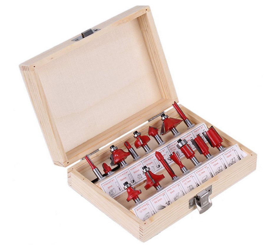 1/4 1/2 Professional Woodworking Carbide Router Bit Set Milling Cutter Wood Carving Engraving Tool Kit Mill Drill Bits 15Pcs [15 pcs router bit set] woodworking milling cutters for wood router woodworking machine free shipping yg8 carbide wooden box