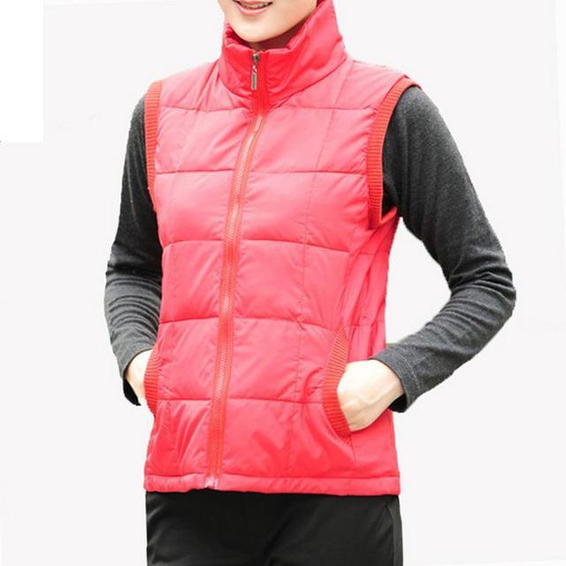 Winter cotton Vest Women 2016 New Spring Brief Style Autumn Ladies Moms Thin Warm Plus Size Solid Color Outwear