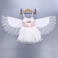 Girls Dress Baby Robe Fille Baby Toddler Swan White Dresses With Wing Meisjes Jurk Little Girl Princess Robe Enfant Beach Wear