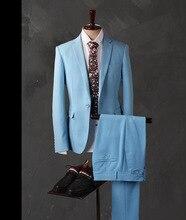 2017 Latest Coat Pant Designs Light Blue Men Suit Slim Fit 3 Piece Groom Tuxedo Custom Suits Prom Party Blazer Terno Masculino