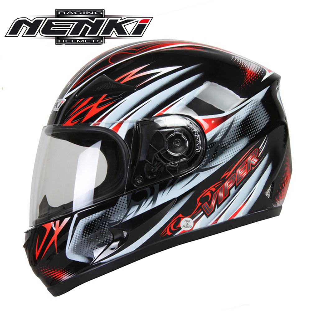 ФОТО NENKI Full Face Motorcycle Helmet Capacete da Motocicleta Cascos Moto Casque Kask 816c Racing Riding Men Women Helmet with Scarf