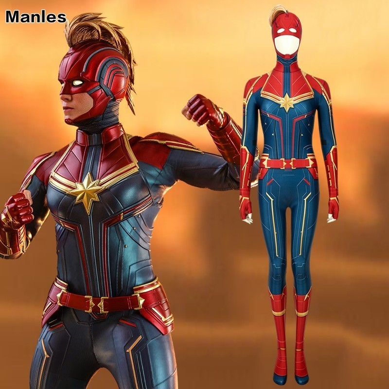 Captain Marvel Cosplay Avengers Endgame Ms. Marvel Carol Danvers Costume 3D Print Jumpsuit Heroine Halloween Spandex Mask Female