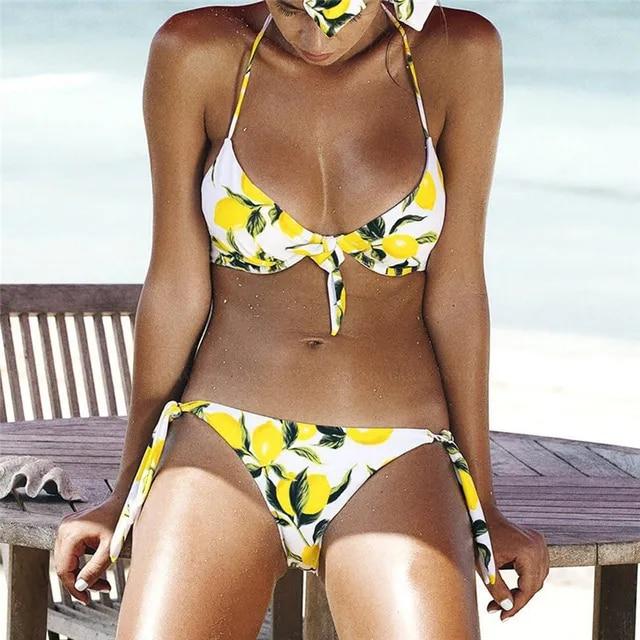 2019 Sexy Bikini Set Women Swimsuit Solid Bikini Floral Backless Ruffles Push-Up Padded Beach Halter