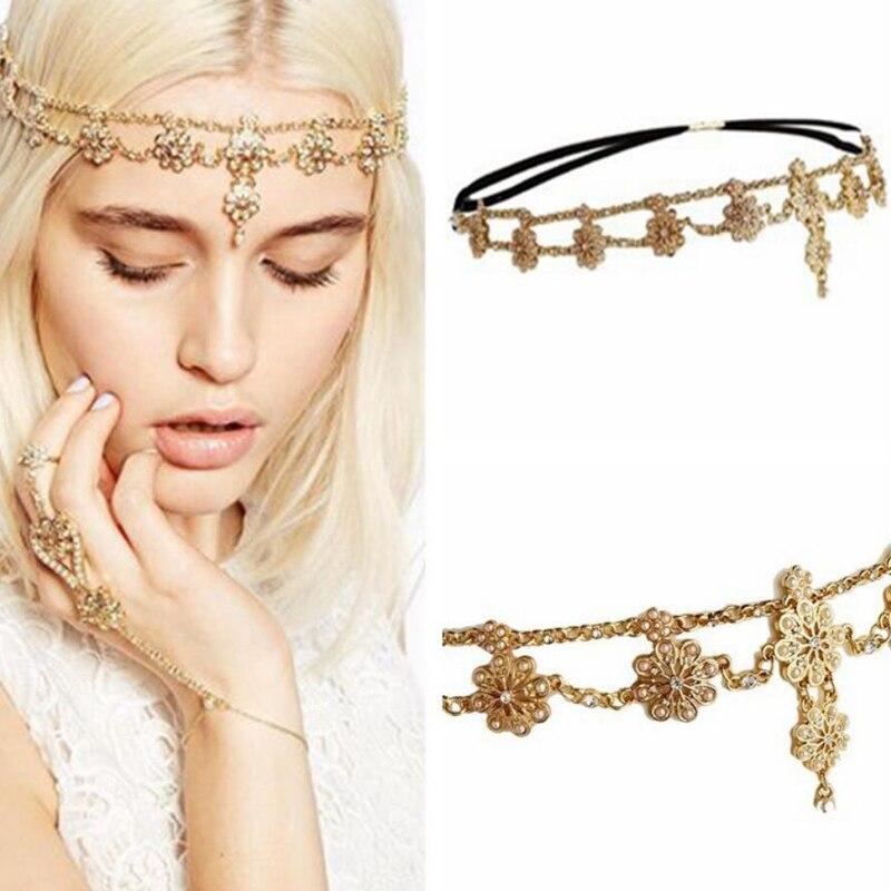 Жемчужная Свадебная цепочка для волос с цветами и кристаллами, свадебная повязка на голову со стразами, стразы старинный головной убор для женщин, ювелирные изделия