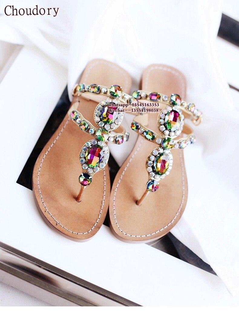 2019 Été Nouveau Diamant Bohême Appartements chaussures Étés Femmes Sandales Strass Femme Flip Flops Plage Femmes Casual Chaussures