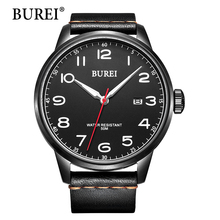 BUREI Men's Quartz Wrist Watches with Mineral Crystal Black Luminous Dial Leather Strap