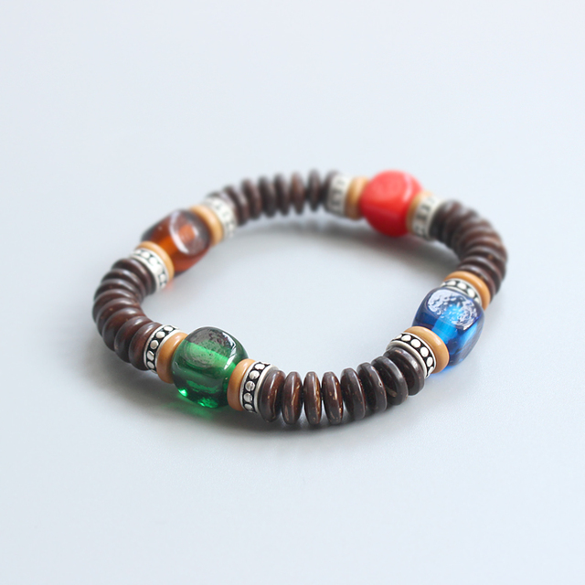 Wholesale Coconut Shell & Lampwork Beads Stretch Bracelet Unisex Buddhist Prayer & Yoga Meditation Ethnic Wrist Jewelry Handmade
