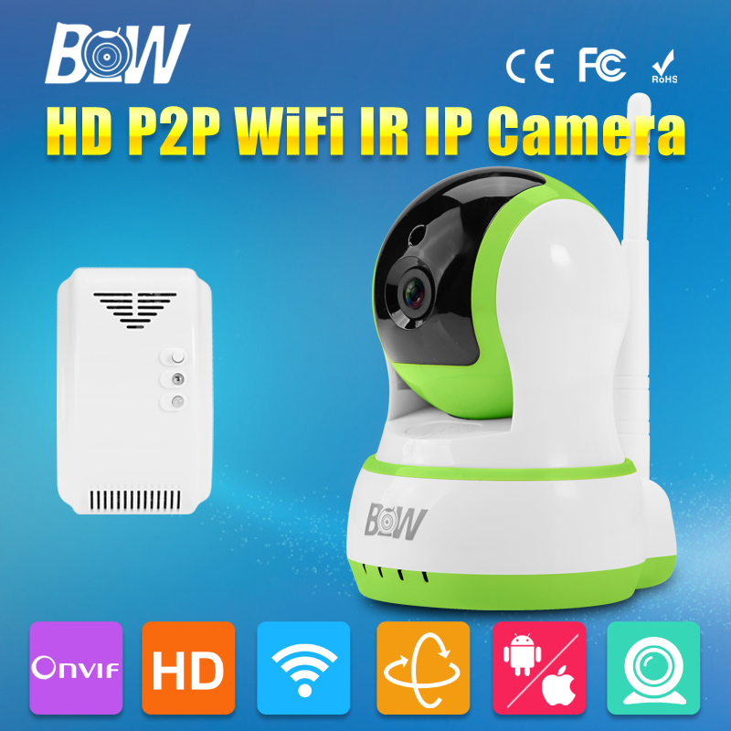 ФОТО BW 720P HD Dome Camera P2P MegaPixel Lens Filter Wireless Wifi Security Surveillance Network CCTV Onvif Indoor IP + Gas Detector