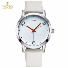 KINGSKY Luxury Wrist Watches PU Leather Strap Black White Fashion Brand New Arrival Watch For Men Women