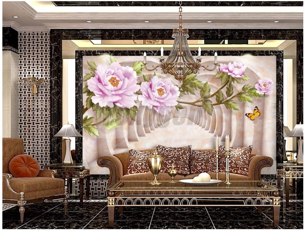 Custom photo Art wallpaper 3D FLower Designs TV background/living room/ hotel decoration/shopping center 3d mural wall paper