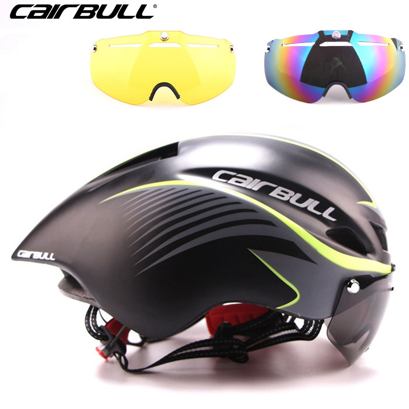 3 lens 290g Aero TT Road Bicycle Helmet Goggles Racing Cycling Bike Sports Safety TT Helmet in-mold Road Bike Cycling Goggle