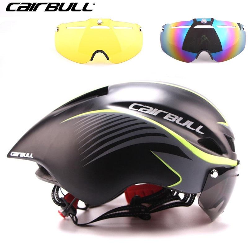 3 lentille 290g Aero TT Route Casque De Vélo Lunettes Racing cyclisme Vélo Sport Sécurité à TT Casque dans le moule Vélo De Route Vélo lunettes