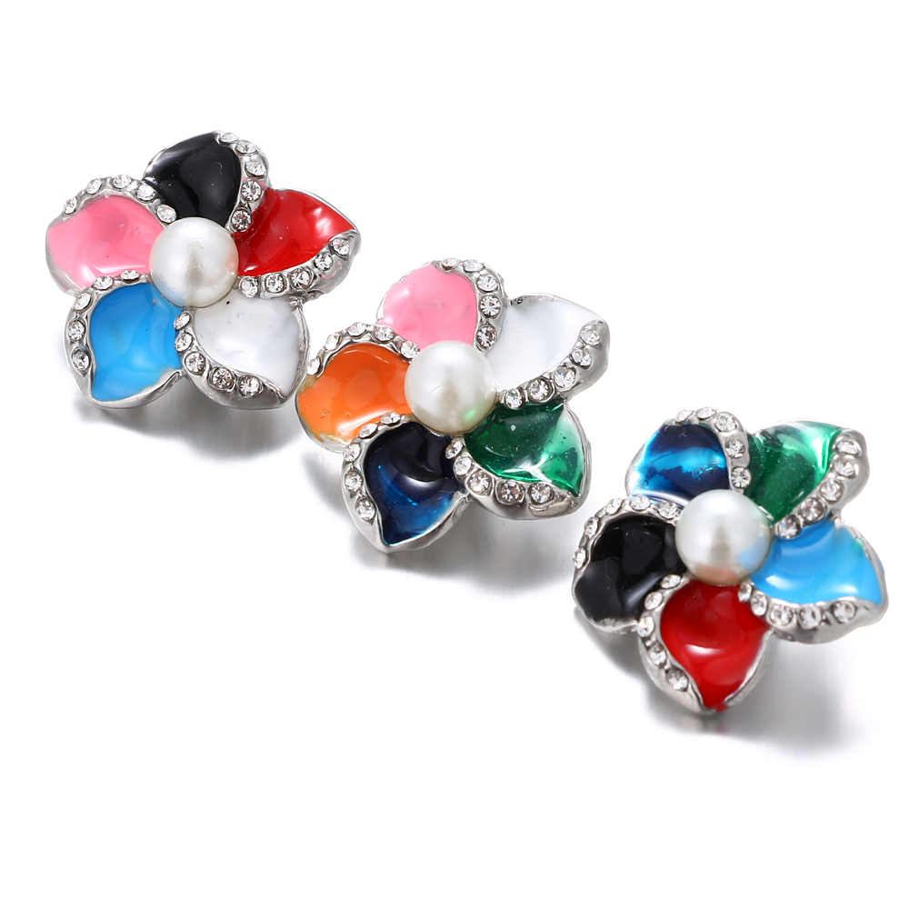 New Rhinestones Snap Jewelry Colorful Flower Ginger Snap Buttons DIY 18MM Snap Bracelets Neklace Button Women Jewelry