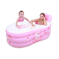 031447 Plastic Pvc Folding Bathtub Bath Tub Barrel Not Inflated For Adults Children Stainless Steel Frame