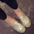 2016 Летний Новый Прибытие Женщины Моды Выдалбливают Квартиры Мокасины Обувь Повседневная Кожаная Обувь Одного Дышащей Ленивый Обуви Размер 35-39