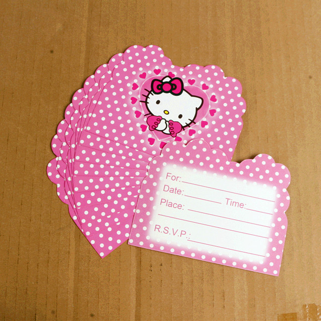 10 Pcs 11 14 Cm Pink Hello Kitty Kartu Undangan Kartun Tema Anak