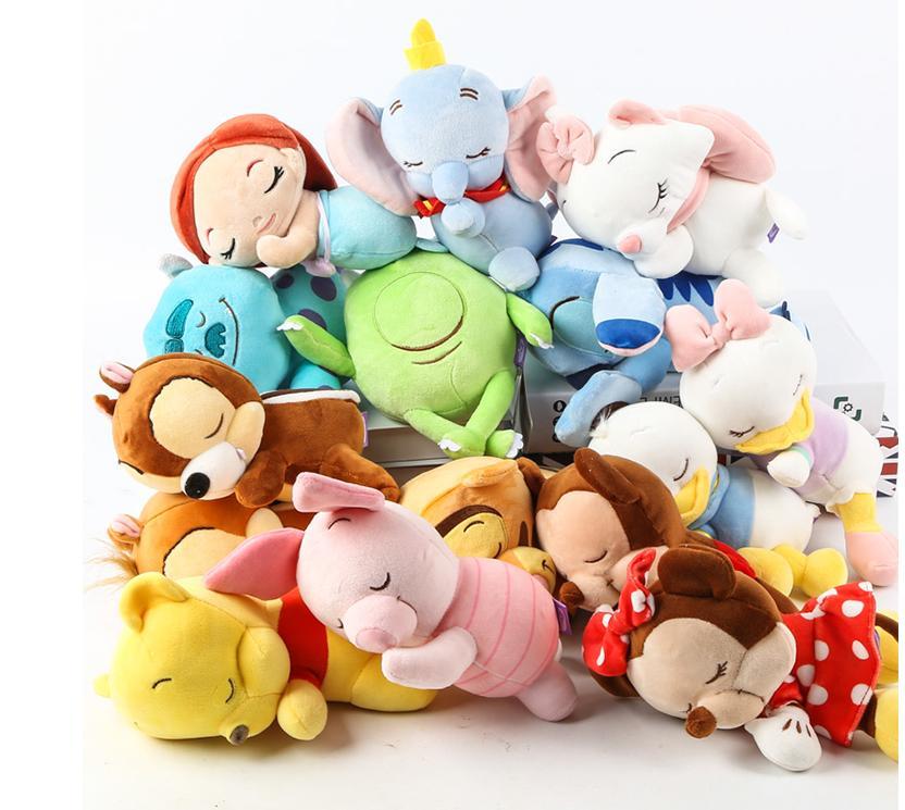 Cute Lying Sleeping Stitch Little Mermaid Princess Rapunzel Chip Dale Marie Cat Donald Duck Dumbo Bear Plush Toys