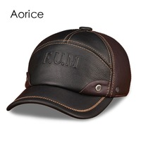 HL063 Men S Genuine Leather Baseball Cap Brand New Spring Real Cow Leather Golf Caps Hats
