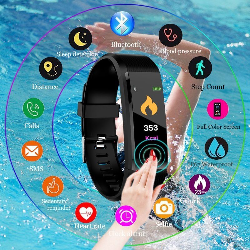 Waterproof Smart Bracelet Watch Wristband 115 Plus Blood Pressure Monitoring Heart Rate Monitor Fitness Band