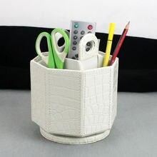 Octagon 5-слот вращающийся домашнего офиса вращающегося рабочего стола кожаный ящик для хранения случай крокодиловый красный черный белый 260D