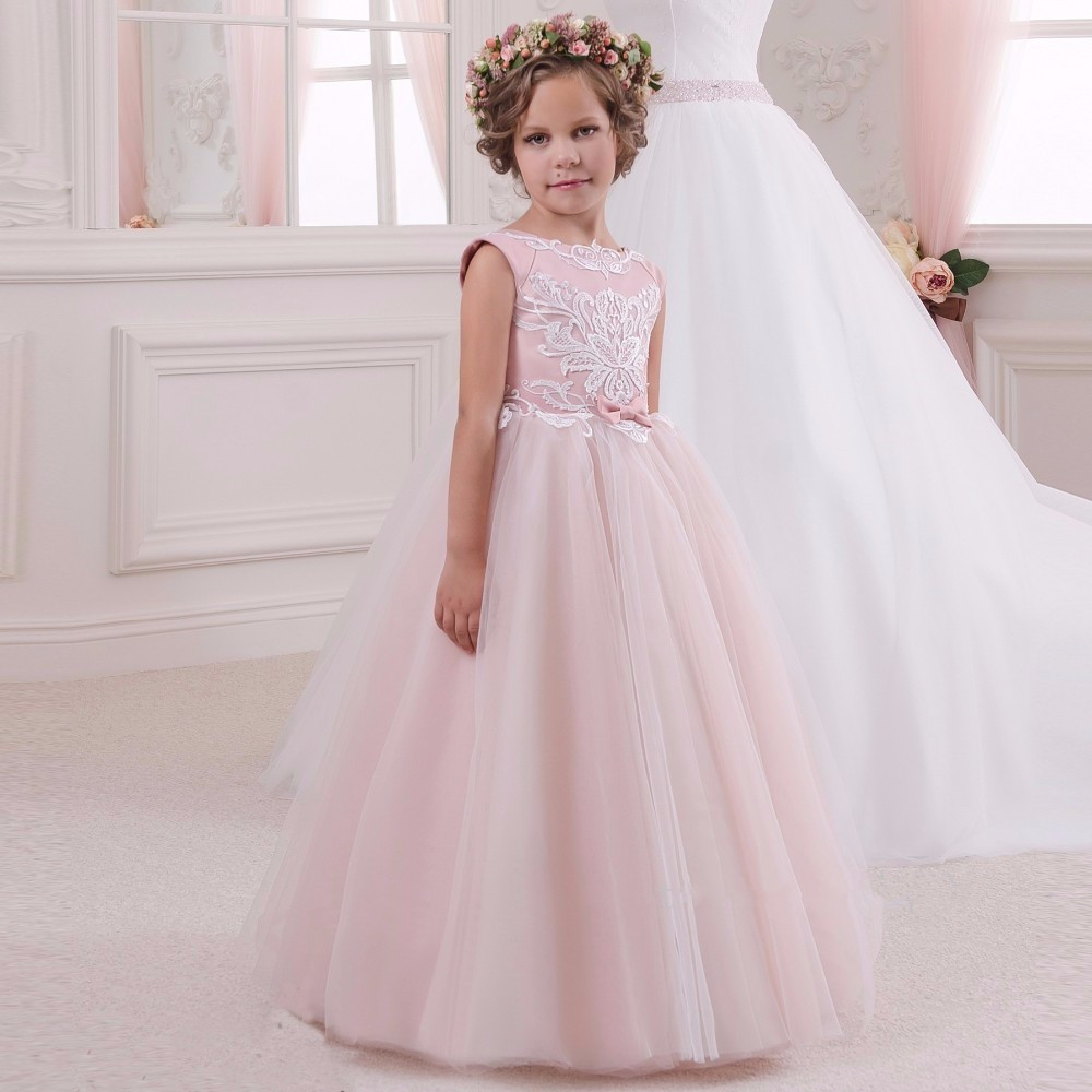 Long Puffy Pink Tulle Flower Girls Dresses Pretty Princess Birthday Ball Gown First Communion Dresses size 4 6 8 12 14