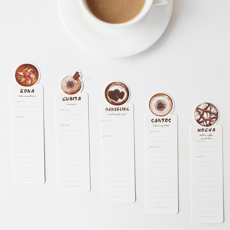 30pcs/pack Creative Boxed Paper Bookmarks Original Fresh Hand-painted Coffee Time Bookmark Gift Stationery Office Supplies