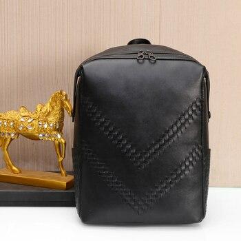 Kaisiludi men's travel  leather men's bag fashion high-capacity computer  cowhide braid shoulder bag schoolbag girls bag