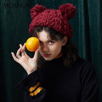 Gorro de invierno hecho a mano tejido de lana gruesa sombreros 2018 nueva  marca Tow pompón Bobble gorras mujeres Skullies gorros caliente sombrero  femenino d036d753925