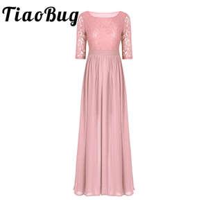 Image 1 - Vestidos da dama de honra, elegante, feminino, meia mangas, bordado, renda, chiffon, longo, para festa de casamento, baile, dama de honra, formal