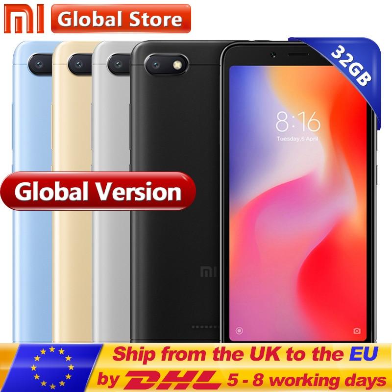 Versión Global Xiaomi Redmi 6A 6 2 GB 32 GB ROM RAM A22 teléfono móvil del teléfono celular del teléfono 13,0 MP + 5.0MP 3000 mAh 5,45 pulgadas 1440*720