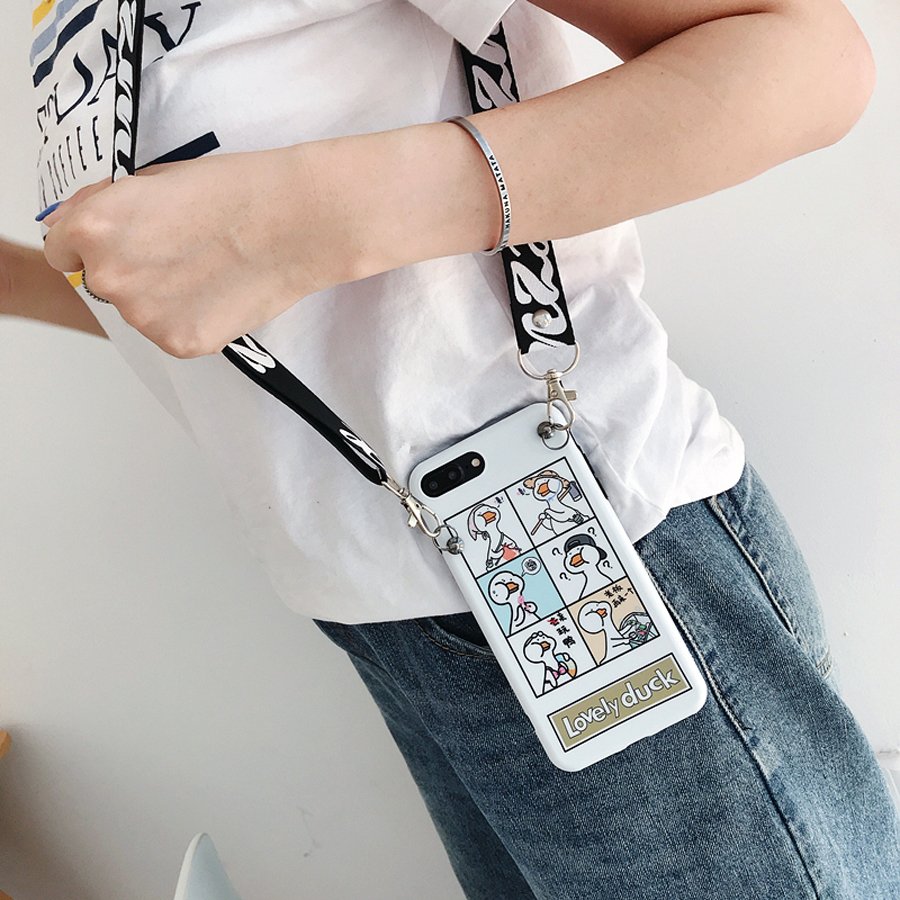 For iphone XS MAX X 8 7 plus 6 6s plus case cover ins cute cartoon duck relief with shoulder strap scrub soft silicon phone bag in Fitted Cases from Cellphones Telecommunications