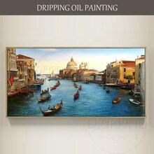 Художественная ручная роспись, высокое качество, водная деревенская Венеция, масляная живопись на холсте, Венецианский пейзаж, масляная живопись
