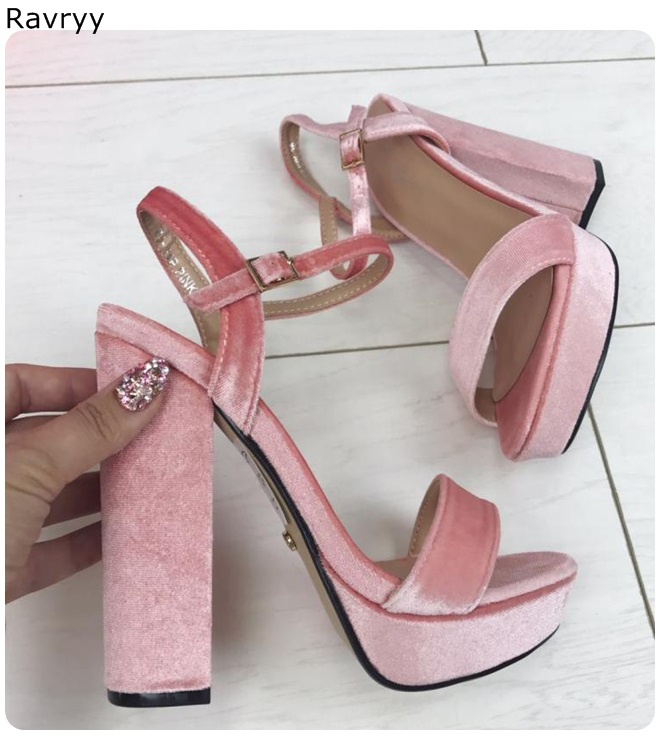 Mujeres Cuero Zapatos Rosa Picture Tacón Abierto Alto Pie As Cuadrado  Sandalias Verano De as Dedo ... 62f6f25c501a