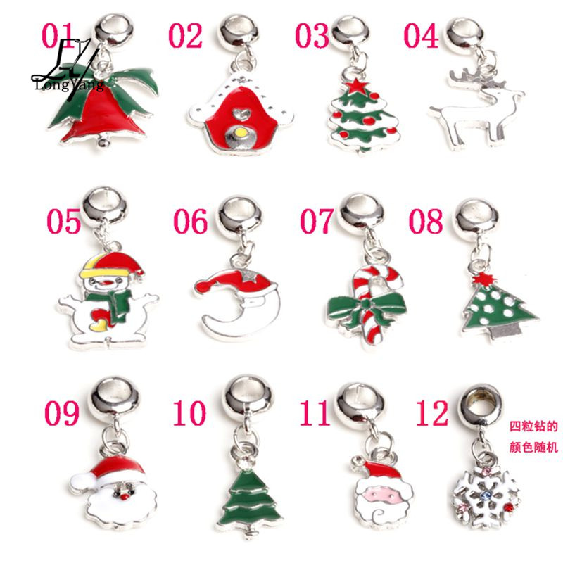 Free Shipping 12 Designs Christmas Day Charms Pendant Diy