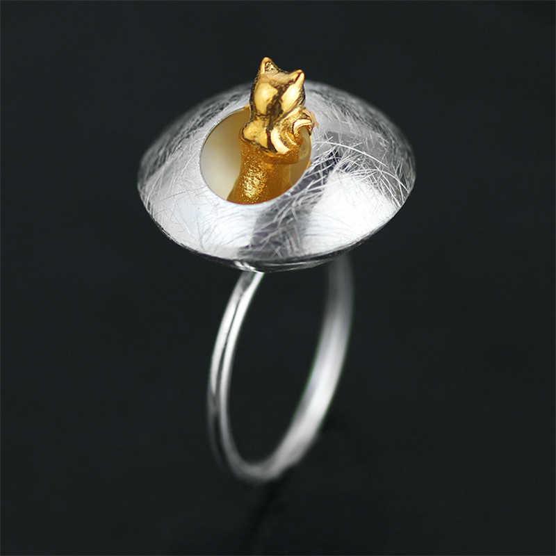 Lotus สนุกจริง 925 เงินสเตอร์ลิงธรรมชาติ Handmade Designer เครื่องประดับ Fine Cat's Life แหวน Bijoux