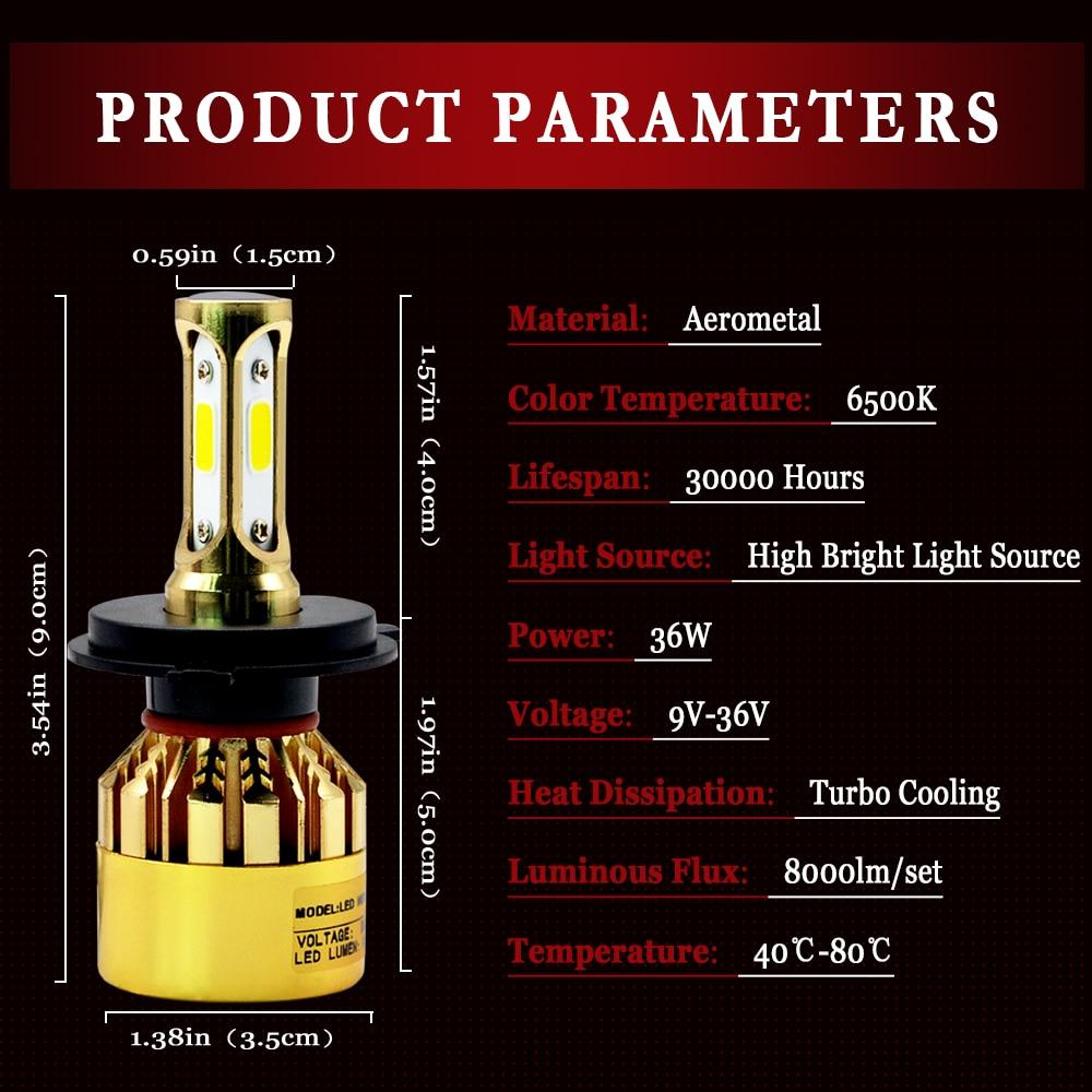 H7 LED-glödlampa H1 H4 H3 H11 Bilstrålkastarlampor S500 Golden - Bilbelysning - Foto 4