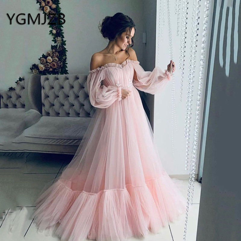 9c3b179d61b7 Elegant Blue Off Shoulder Evening Dresses 2019 A-Line Puffy Long Sleeves  Tulle Prom Dress Women Formal Prom Gown Party Dress ~ Free Delivery July  2019