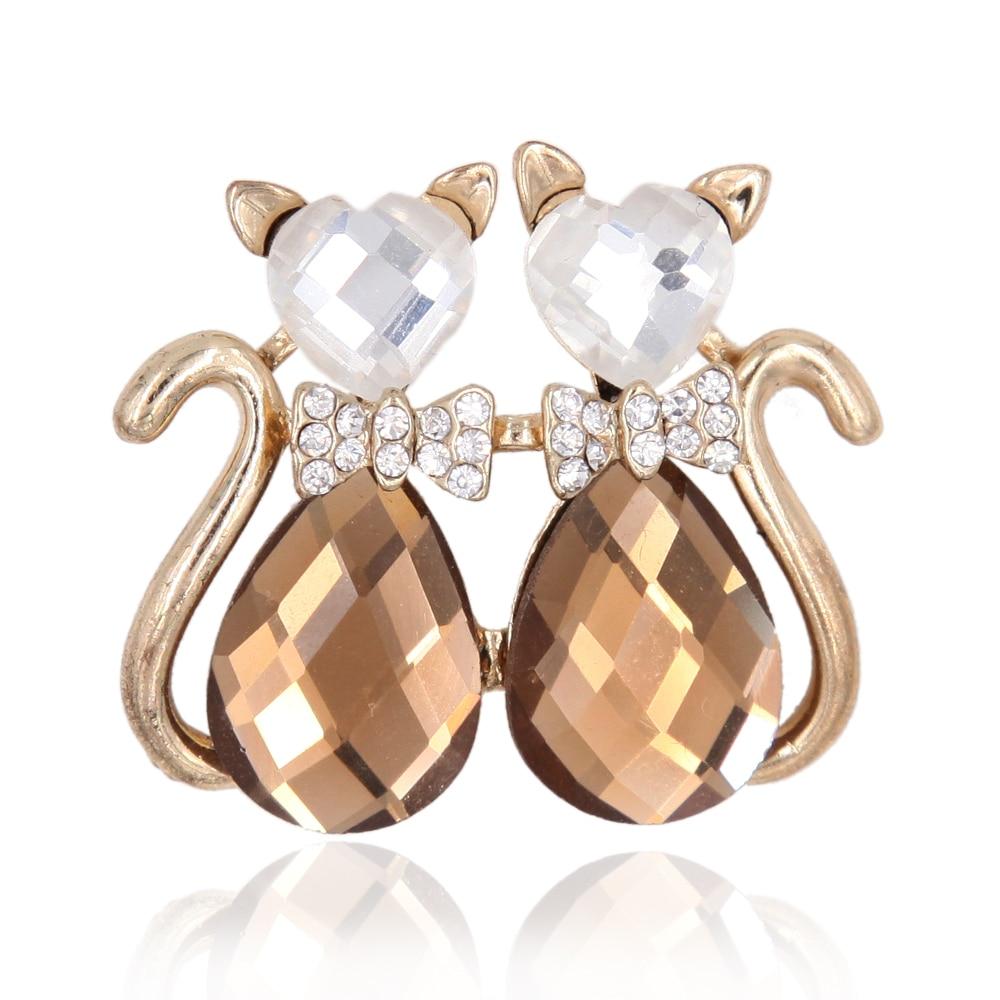 Twins Double Cat Brooch Pin Crystal Rhinestone Animal Love Heart Dazzle Guard Diamond Coating Women Garment Accessory Fashion Jewelry
