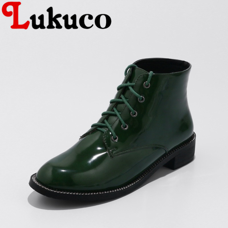 Lukuco spring/autumn ankle boots with cross-tied design 40 41 42 43 low heel shoes high quality PU made